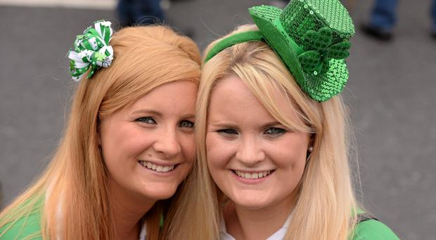 14 July 2013; Aisling O'Kelly and her twin sister Eadaodin, from Knockaderry, Co Limerick, on their way to the game. Munster GAA Hurling Senior Championship Final, Limerick v Cork, Gaelic Grounds, Limerick. Picture credit: Ray McManus / SPORTSFILE
