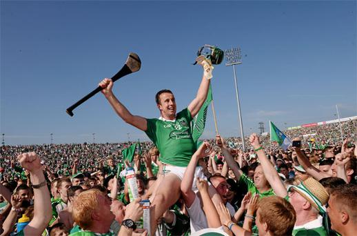 Limerick's Niall Moran celebrates with supporters after the game