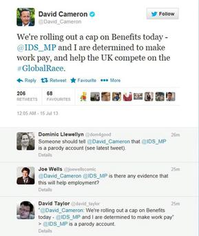 Screengrab of a Tweet by Prime Minister David Cameron which blundered by including the name of a spoof account for the Work and Pensions Secretary Iain Duncan Smith