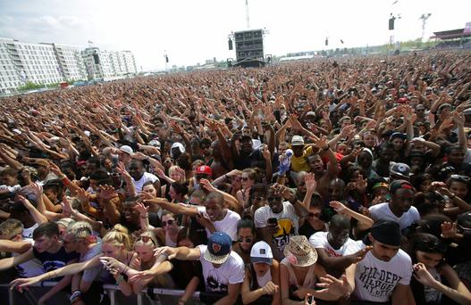The crowd watching the Main Stage at the Yahoo! Wireless Festival, at the Queen Elizabeth Olympic Park in east London