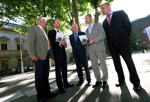 Pictured at the launch of the Animal Health Ireland (AHI) animal health conference titled Animal Health - 'The Cornerstone of Sustainable and Profitable Farming' were: Mike Magan, chairman of AHI; the Minister for Agriculture, Simon Coveney; Dr Noel Cawley, chairman of Teagasc; Joe O'Flaherty, CEO AHI; and Donal Lynch, president of Veterinary Ireland. The conference is scheduled to take place in Rochestown Park Hotel, Cork on October 23