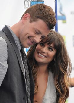 Cory Monteith with his girlfriend Lea Michele last August