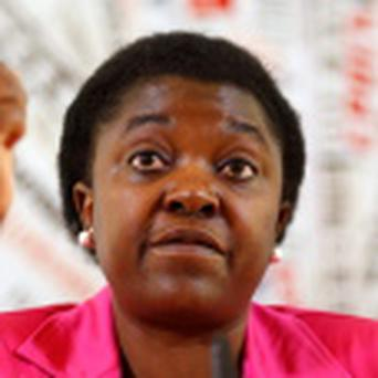 Italian Minister for Integration Cecile Kyenge gestures during a news conference in Rome