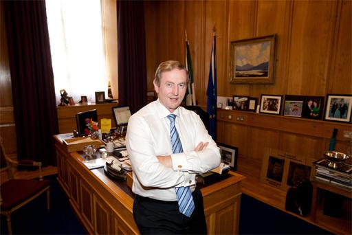 "Taoiseach Enda Kenny in his office. Mr Kenny said: ""The Live Register shouldn't be seen as a list of people who should be discarded."""