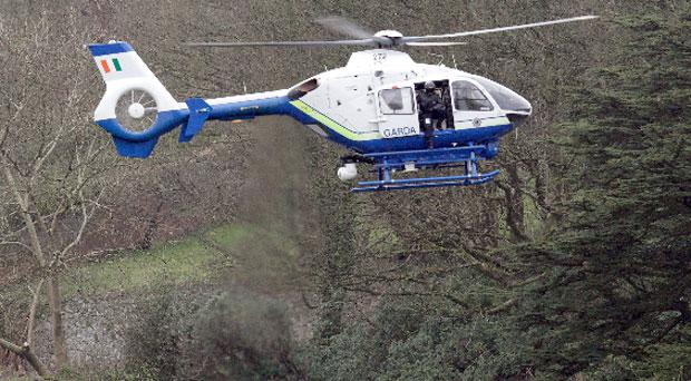 The Garda helicopter has been called in to help hunt down a gang responsible for a robbery in Kilbeggan