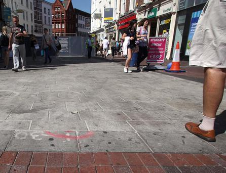 Installation of the paving began last month but there have already been complaints about its appearance