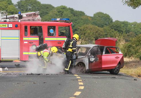 Two units of fire service and two units of Ambulance attended the scene of three car crash on R446 near Loughrea