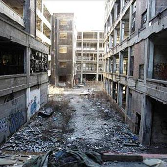 The abandoned 3.5-million-square-foot Packard car plant in Detroit.