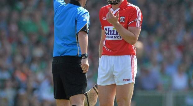 Patrick Horgan, Cork, is shown a straight red card by referee James McGrath last weekend