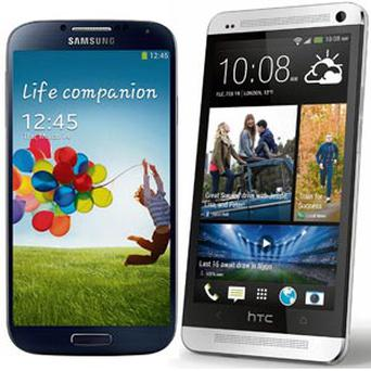 From left, the Samsung Galaxy 4 and the HTC One.