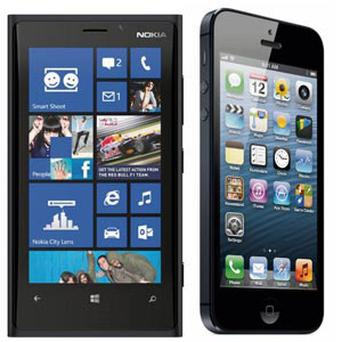 From left, the Nokia Lumia 920 and the iPhone