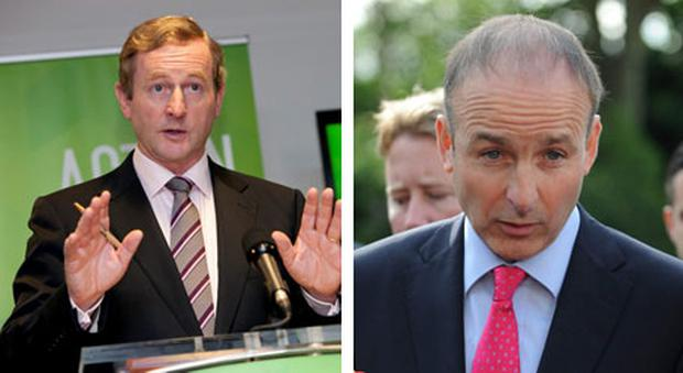 Enda Kenny, left, and Michael Martin, right.