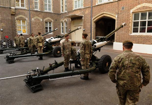 The Honourable Artillery Company prep their kit and personnel at Armoury House for the royal gun salute from the Tower of London