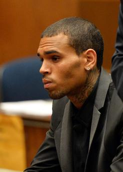 R&B singer Chris Brown appears during a court hearing at Los Angeles Superior court in Los Angeles