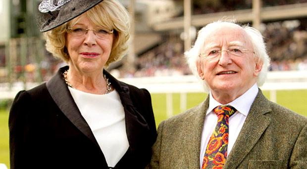 President Higgins and his wife Sabina pictured at the Curragh