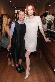 NEW YORK, NY - JULY 23: (L) Designer Orla Kiely and model Karen Elson attend the Orla Kiely for Target Preview Party on July 23, 2013 in New York City. (Photo by Jamie McCarthy/Getty Images for Target)