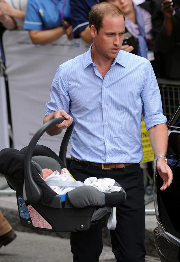 Prince William wore dark blue trousers held up with a jazzy, Aztec patterned belt completed an ensemble topped with his favourite off-duty garment, an entirely inoffensive light blue shirt.