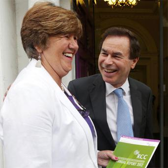 Justice Minister Alan Shatter with Dublin Rape Crisis Centre chief executive Ellen O'Malley-Dunlop