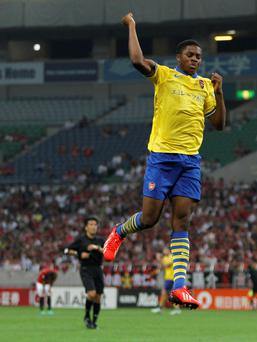 Arsenal's Chuba Akpom celebrates his goal against Urawa Reds today