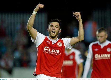 St. Patricks Athletic's Killian Brennan celebrates after scoring his side's second and winning goal in injury time last night
