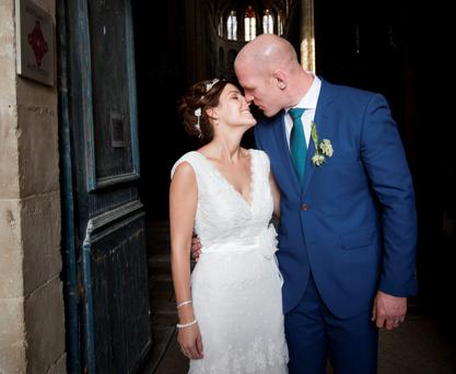 Newly weds Rugby legend Paul O'Connell and Emily O'Leary after their wedding at Sainte Marie, Cathedral in Auch, South France. Pic:Mark Condren 27.7.2013