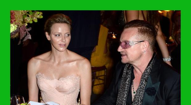 MONACO - JULY 27: Princess Charlene of Monaco and Bono attend the dinner at the 'Love Ball' hosted by Natalia Vodianova in support of The Naked Heart Foundation at Opera Garnier on July 27, 2013 in Monaco, Monaco. (Photo by Pascal Le Segretain/AdB/Getty Images)***BESTPIX***