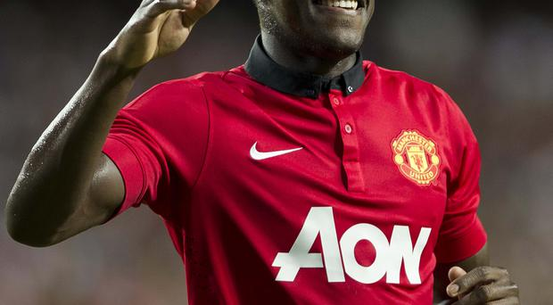 Danny Welbeck of Manchester United celebrates after scoring during the internationaly friendly match between Kitchee FC and Manchester United at Hong Kong Stadium