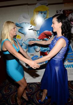 Singer Britney Spears and actress/singer Katy Perry attend the Los Angeles premiere of