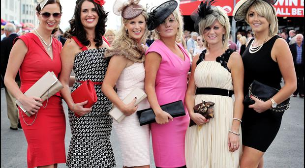 Enjoying the Galway Races at Ballybrit yesterday were nurses and midwifes from left, Noelle Greene from Tipperary, Sinead Walsh from Tipperary, Aoife Ryan from Tipperary, Kate Hennessy from Tipperary, Tara Johnston from Tipperary and June Petrie from Mayo. Pic Steve Humphreys 30th July 2013.