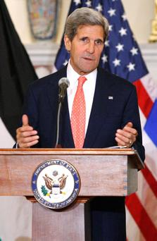 U.S. Secretary of State John Kerry announces further peace talks at a news conference with Israel's Justice Minister Tzipi Livni and Chief Palestinian negotiator Saeb Erekat