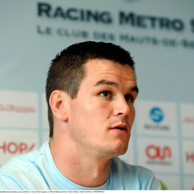 Racing Metro's new signing Jonathan Sexton during a press conference. Photo: Sportsfile