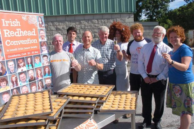 Celebrating their World Record of 4695 cookies made in 1 hour at Hassets Bakery in Carrigaline were Michael Hasset, Nicholas O'Leary, Pat O'Leary, Chairman Cork Branch Restaurant Assoc.; Denis Murphy, Simon Joulin, Denis Cronin, Barrister Jim O'Mahony and Joleen Cronin, Irish Redhead Convention. Picture: Howard Crowdy