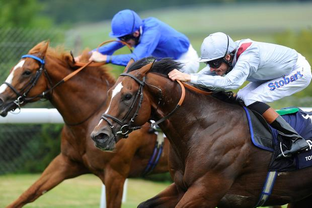 Richard Hughes riding Toronado (R) win The Qipco Sussex Stakes from Dawn Approach (L) at Goodwood racecourse on July 31, 2013 in Chichester, England