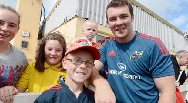 New Munster Rugby Captain Peter O'Mahony with Conor Lavery, Sean Curran (back) and sisters Michaela and Caitlin Daly