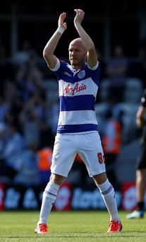 QPR's Andrew Johnson applauds supporters after victory in the Sky Bet Championship match at Loftus Road