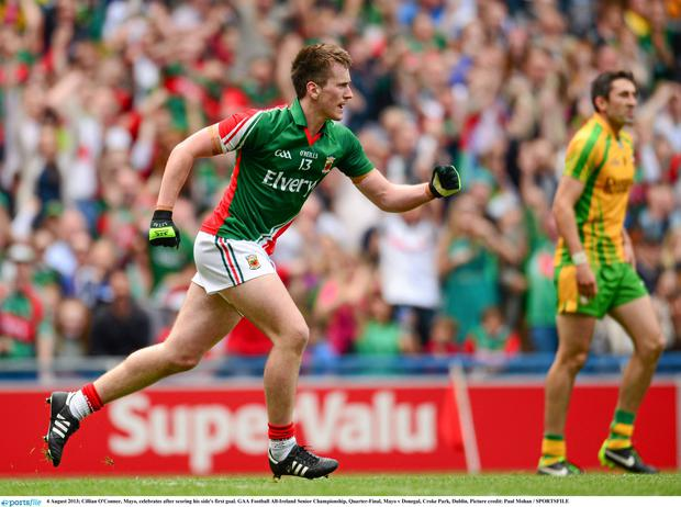 Cillian O'Connor, Mayo, celebrates after scoring his side's first goal
