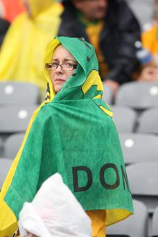 Pathetic Fallacy: One of the disheartened Donegal fans at the end of one of Donegal's Biggest defeat on Sunday in Croke Park. Photo Brian McDaid