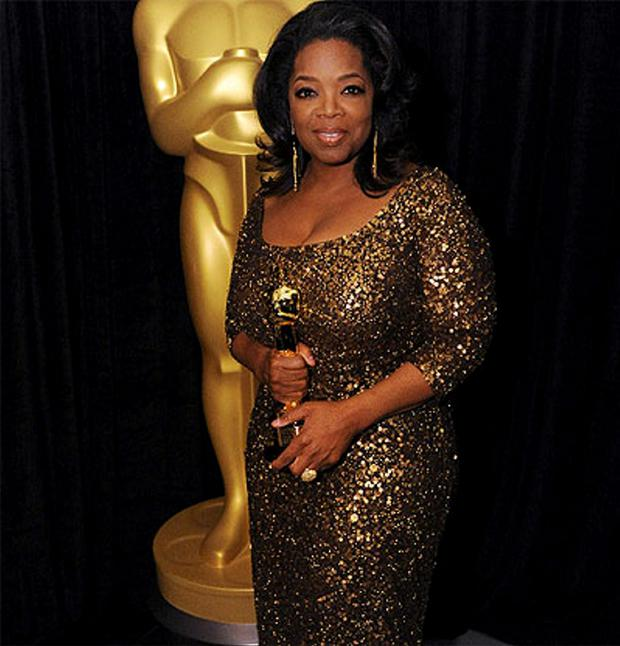 Oprah wearing a gown by Don O' Neill at the Oscars in February 2012