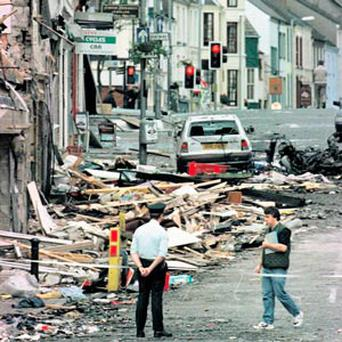 The scene of devastation after the Omagh bombing in August 1998. Twenty-nine men, women and children died, along with two unborn babies.