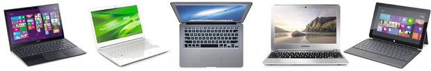 PORTABLE DELIGHTS: Smaller and considerably lighter than conventional laptops with more functionality than a tablet, the Sony Vaio Pro 11, Acer S7, MacBook Air, Samsung Chromebook and Microsoft Surface Pro are the future of mobile technology