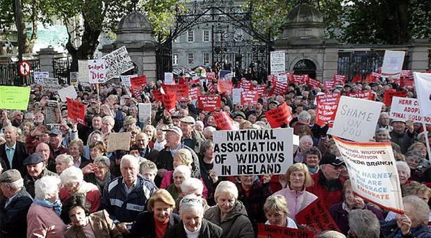 Pensioners protest outside Leinster House in 2008