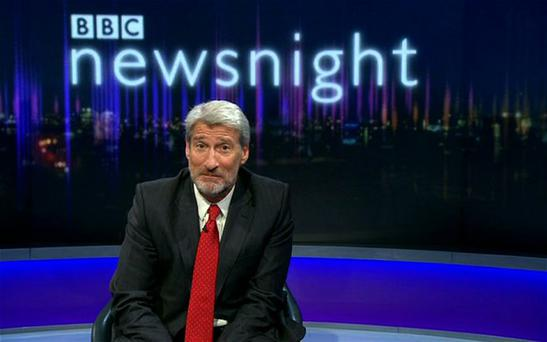 Jeremy Paxman with beard on Newsnight Photo: BBC