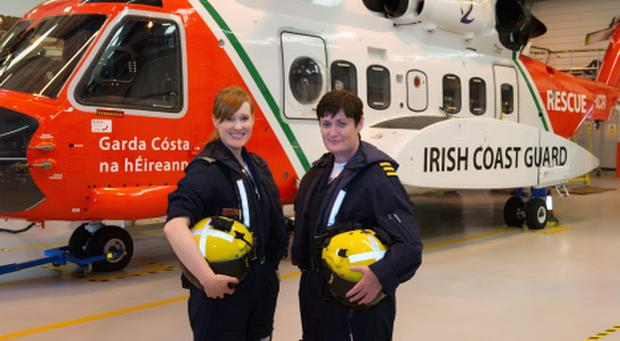 Capt Dara Fitzpatrick (left) and Capt Carmel Kirby who flew the first all-female mission