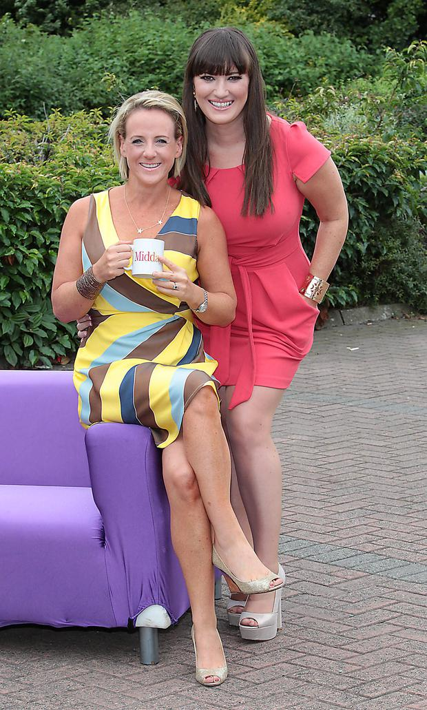 Tv3 Autumn 2013 Schedule launch at Tv3's Sony Hd Studio in Ballymount Dublin Miday Presenters Sybil Mulcahy and Elaine Crowley Pictures:Brian McEvoy No repro fee for one use