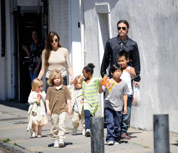 Angelina and Brad with their six children; Maddox, Pax, Zahara, Shiloh, Knox and Vivienne