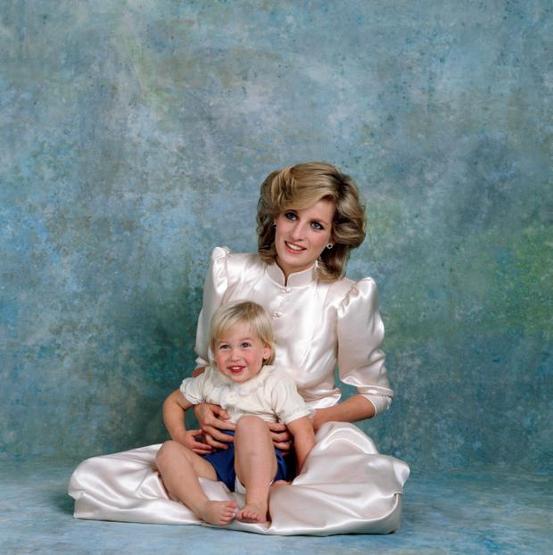 Princess Diana and her son William are pictured during an official portrait sitting to mark HRH Prince Harry's christening in 1984.