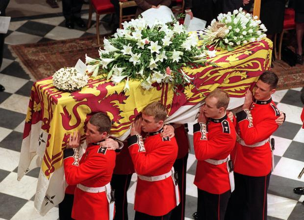 06/09/1997 of the coffin of Diana, Princess of Wales, being carried into Westminster Abbey for her funeral service. PRESS ASSOCIATION photo.