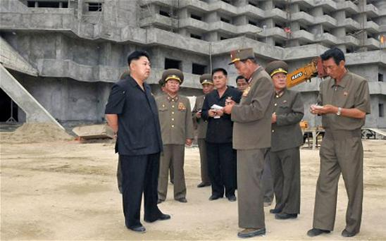 North Korean leader Kim Jong-un visiting the construction site of the Ski Resort on Masik Pass. Getty Images