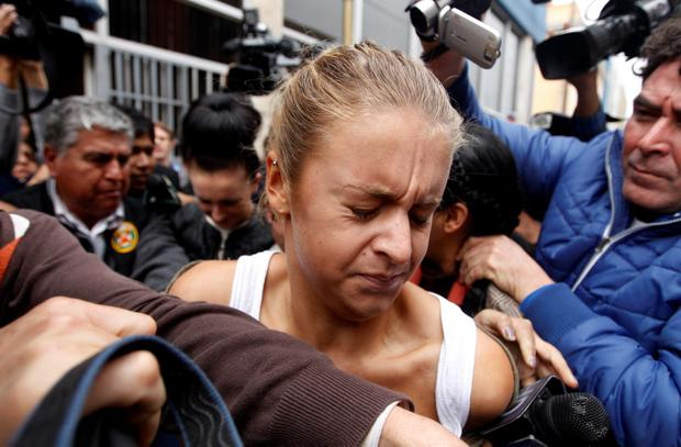 Melissa Reid after leaving the public prosecutor's office at Callao