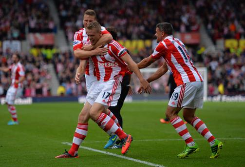 Ryan Shawcross of Stoke celebrates a goal last season